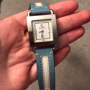 Coach Leather and Silver Watch